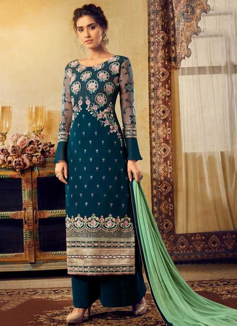 Viscose Palazzo Style Pakistani Salwar Kameez
