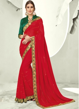 Vivacious Faux Chiffon Stone Red Trendy Saree