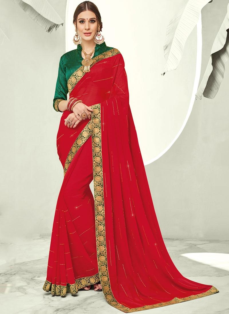 Vivacious Faux Chiffon Stone Red Trendy Saree
