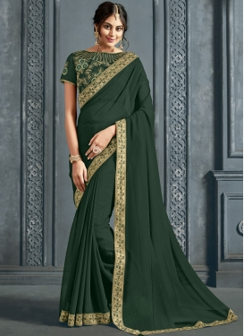 Vivacious Patch Border Bottle Green Faux Chiffon Classic Saree