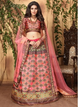 Vivid Digital Print Satin Salmon Trendy Lehenga Choli