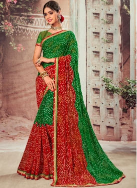 Vivid Green and Red Faux Chiffon Classic Designer Saree