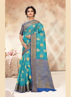 Vivid Light Blue Weaving Chanderi Designer Traditional Saree