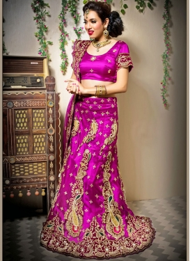 Voguish Embroidered Net Magenta Designer Lehenga Choli