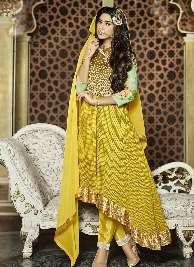 Voguish Sequins Work Asymmetrical Style Designer Salwar Suit