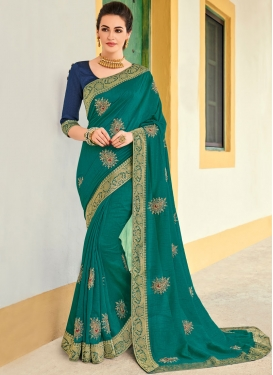 Voguish Teal Ceremonial Designer Traditional Saree