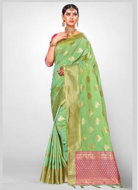 Voguish Weaving Mint Green Traditional Saree