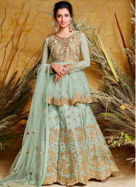 Voluptuous Embroidered Aqua Blue Floor Length Anarkali Suit