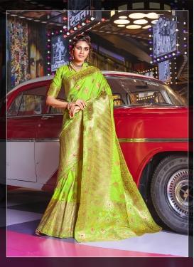 Weaving Art Silk Designer Traditional Saree in Mint Green
