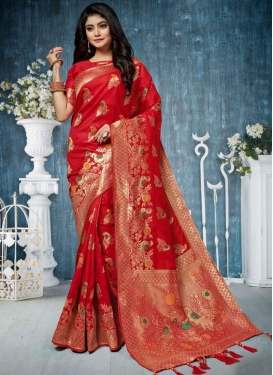 Weaving Art Silk Designer Traditional Saree in Red