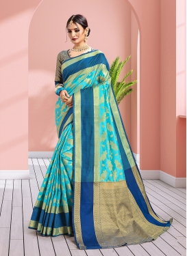 Weaving Art Silk Traditional Designer Saree in Light Blue