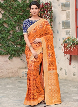 Weaving Art Silk Traditional Saree in Orange