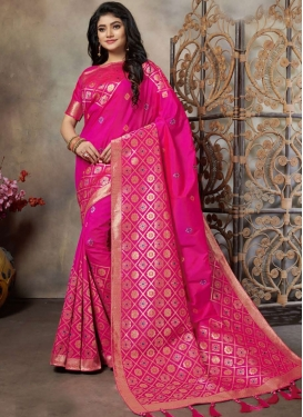 Weaving Art Silk Trendy Saree in Rose Pink