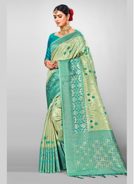 Weaving Jacquard Silk Designer Traditional Saree in Sea Green