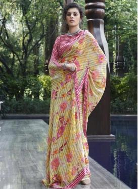 Weight Less Cream and Rose Pink Designer Contemporary Saree