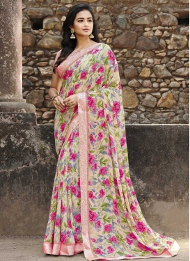 Weight Less Cream and Salmon Contemporary Style Saree For Ceremonial