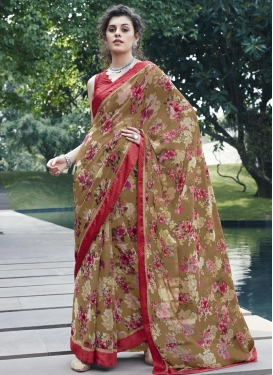 Weight Less Digital Print Work Brown and Red Traditional Designer Saree