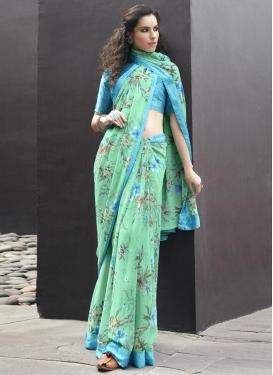 Weight Less Light Blue and Sea Green Designer Contemporary Saree