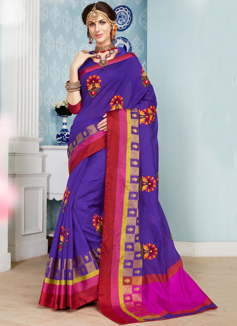 Whimsical Art Silk Cotton Classic Saree