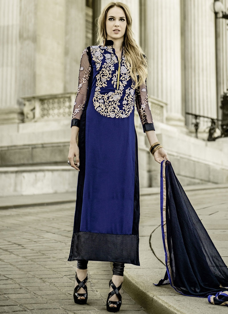 Whimsical Faux Georgette Lace Work Party Wear Suit