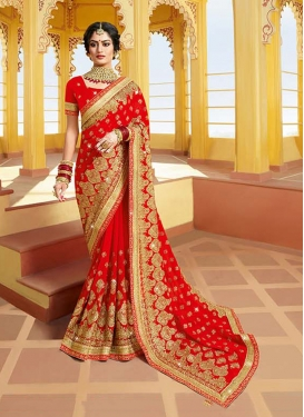 Whimsical Red Classic Saree