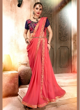 Whimsical Satin Georgette Embroidered Saree