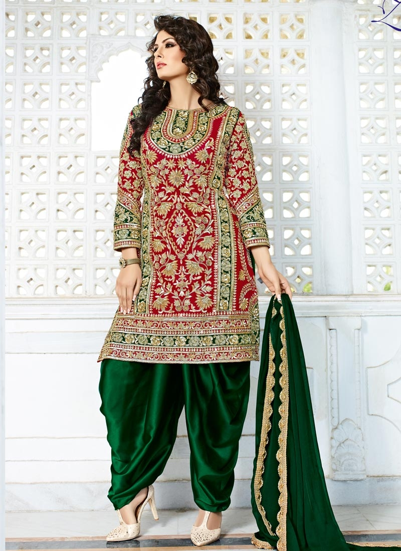 Whimsical Silk Green and Red Designer Patiala Salwar Kameez