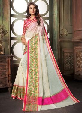 White Cotton Silk Designer Saree