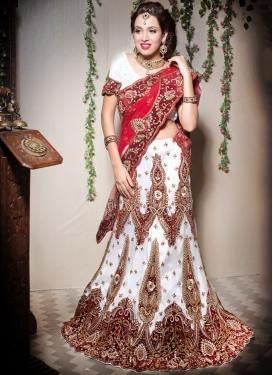 White Sangeet Net Designer Lehenga Choli
