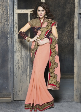 Winsome Patch Border Work Wedding Saree