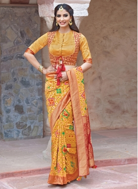 Wonderous Art Silk Mustard Weaving Traditional Saree