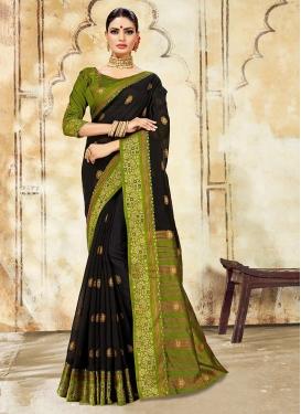 Wonderous Cotton Silk Black Designer Traditional Saree