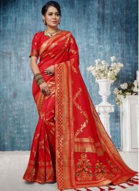 Wonderous Red Weaving Traditional Designer Saree
