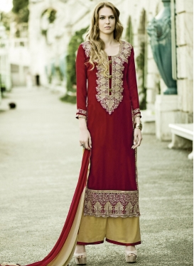 Wondrous Karachi Work Palazzo Style Party Wear Suit