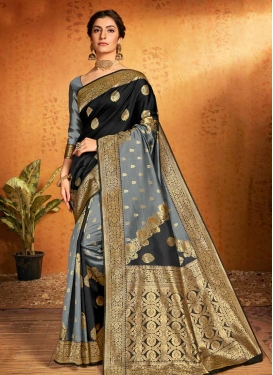 Woven Work Art Silk Black and Grey Contemporary Style Saree