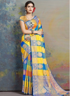 Woven Work Art Silk Blue and Orange Designer Contemporary Style Saree
