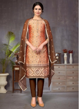 Woven Work Art Silk Coffee Brown and Peach Pant Style Classic Suit