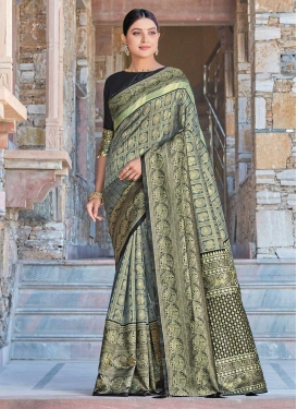 Woven Work Art Silk Contemporary Style Saree For Casual