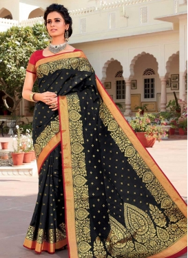 Woven Work Art Silk Contemporary Style Saree For Ceremonial