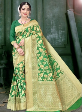 Woven Work Art Silk Contemporary Style Saree For Festival