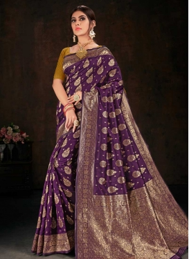 Woven Work Art Silk Designer Contemporary Saree For Casual
