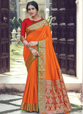 Woven Work Art Silk Designer Contemporary Saree For Ceremonial