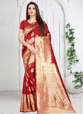 Woven Work Art Silk Designer Contemporary Style Saree For Casual