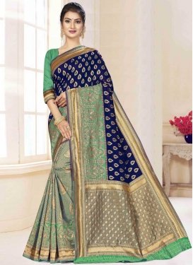 Woven Work Art Silk Designer Half N Half Saree