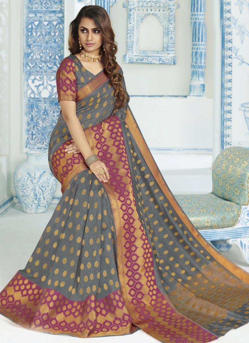 Woven Work Art Silk Fuchsia and Grey Trendy Classic Saree