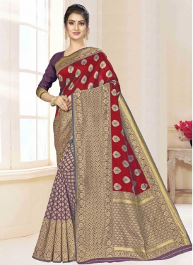 Woven Work Art Silk Half N Half Designer Saree