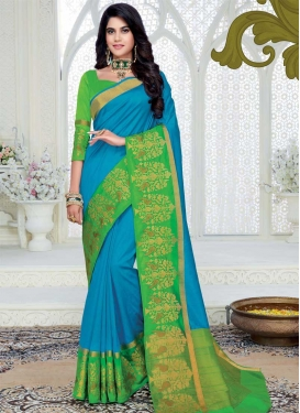 Woven Work Art Silk Light Blue and Mint Green Contemporary Style Saree