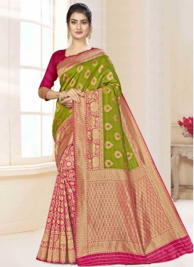 Woven Work Art Silk Olive and Rose Pink Half N Half Trendy Saree
