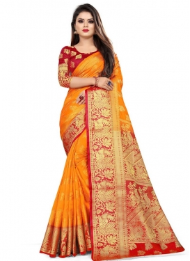 Woven Work Art Silk Orange and Red Designer Contemporary Saree