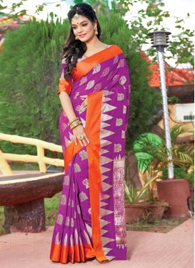 Woven Work Art Silk Orange and Violet Trendy Classic Saree